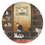 Literary cats dinner plate