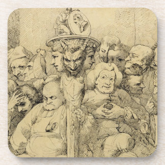 Literary Characters Assembled Around the Medallion Drink Coaster