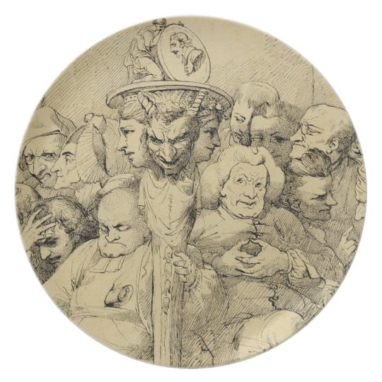Literary Characters Assembled Around the Medallion Melamine Plate