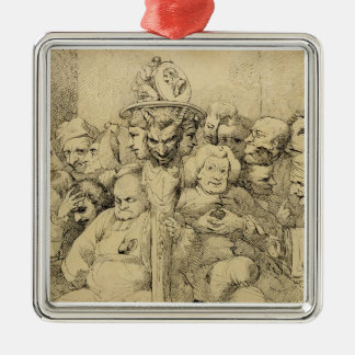 Literary Characters Assembled Around the Medallion Metal Ornament