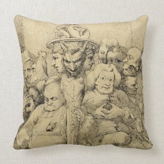 Literary Characters Assembled Around the Medallion Pillow