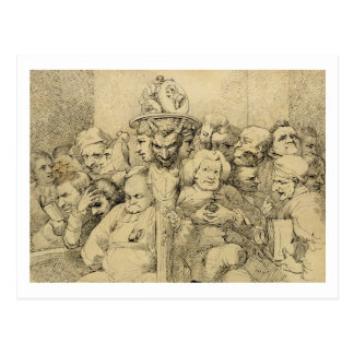 Literary Characters Assembled Around the Medallion Postcard