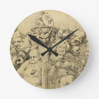 Literary Characters Assembled Around the Medallion Round Clock