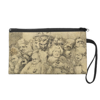 Literary Characters Assembled Around the Medallion Wristlet Purse