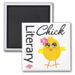 Literary Chick 2 Inch Square Magnet