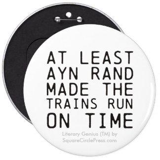 Literary Genius: Ayn Rand Trains Pinback Button