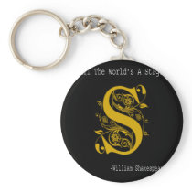 Literary Gift All The World's A Stage Shakespeare Keychain