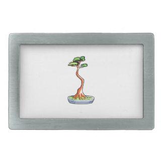 literati bonsai tree graphic rectangular belt buckle