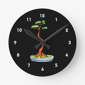 literati bonsai tree graphic round clock