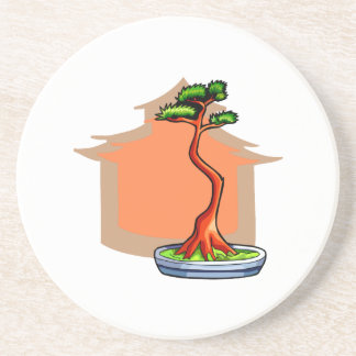 Literati Bonsai With House Bonsai Graphic Image Coasters