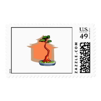 Literati Bonsai With House Bonsai Graphic Image Stamp