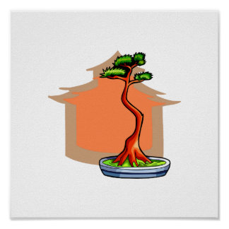 Literati Bonsai With House Bonsai Graphic Image Print