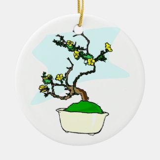 Literati bonsai yellow flowers in white pot graphi christmas tree ornaments
