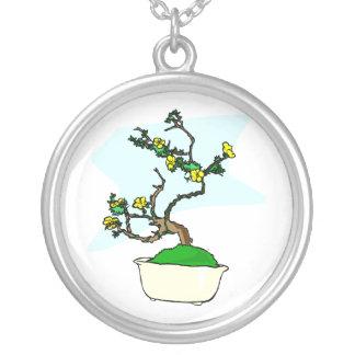 Literati bonsai yellow flowers in white pot graphi round pendant necklace