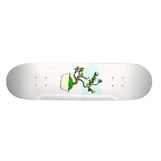 Literati bonsai yellow flowers in white pot graphi skateboard deck