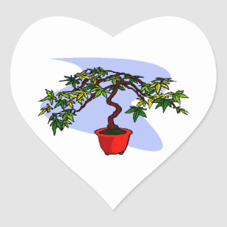 Literati Maple Bonsai Graphic Image Heart Stickers