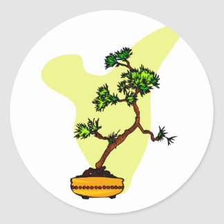 Literati Pine in yellow pot Classic Round Sticker