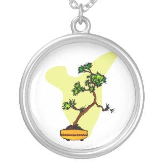 Literati Pine in yellow pot Round Pendant Necklace