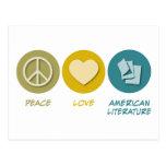 Literatura americana del amor de la paz postales