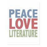 Literatura del amor de la paz tarjeta postal