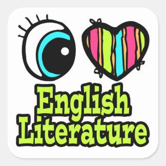 Literatura inglesa del ojo del amor brillante del calcomanía cuadrada