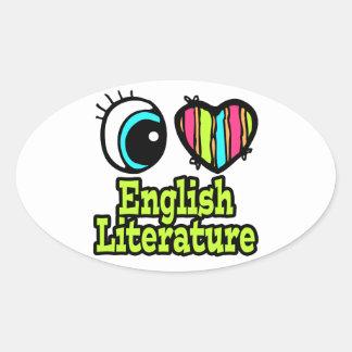 Literatura inglesa del ojo del amor brillante del colcomanias de oval