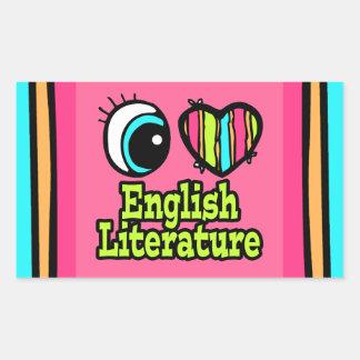 Literatura inglesa del ojo del amor brillante del rectangular pegatina