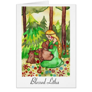 Litha blessings goddess and bears Greeting cards