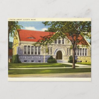 Lithgow Library, Augusta, Maine vintage postcard