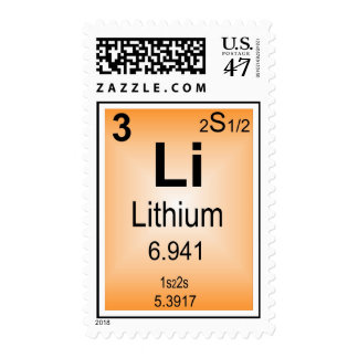 Lithium Postage Stamp Periodic Table of Elements