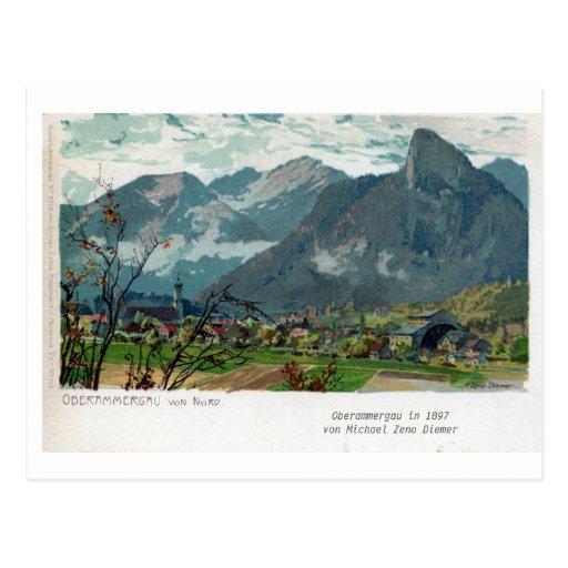Litho 1897 de Baviera de Oberammergau del vintage Tarjeta Postal