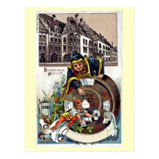 Litho 1905 del vintage Munich Hofbrauhaus Tarjetas Postales