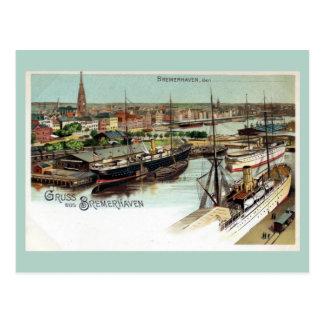 Litho de Bremerhaven del aus de Gruss del vintage Postal