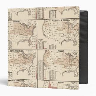 lithographed maps of denominational statistics binder