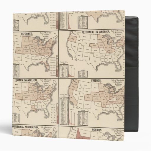 lithographed maps of denominational statistics binders