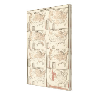 lithographed maps of denominational statistics canvas print