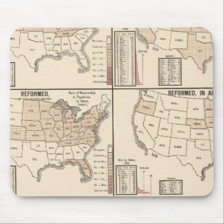 lithographed maps of denominational statistics mouse pad