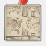 lithographed maps of denominational statistics christmas tree ornaments