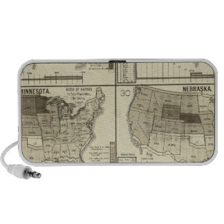 lithographed maps of United States iPhone Speakers