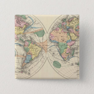 Lithographed World Map Button