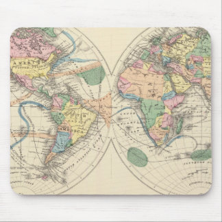 Lithographed World Map Mouse Pad