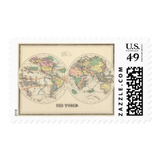 Lithographed World Map Postage