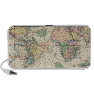 Lithographed World Map iPod Speakers