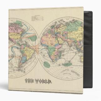 Lithographed World Map Vinyl Binder