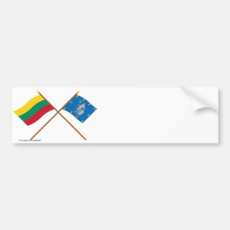 Lithuania and Alytus County Crossed Flags Bumper Stickers