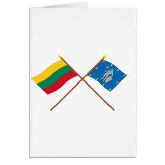 Lithuania and Alytus County Crossed Flags Greeting Card