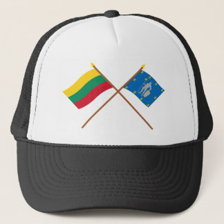 Lithuania and Alytus County Crossed Flags Trucker Hat