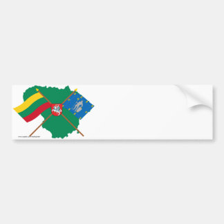 Lithuania and Alytus County Flags, Arms, Map Bumper Stickers