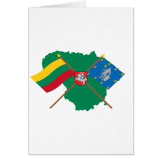 Lithuania and Alytus County Flags Arms Map Greeting Card