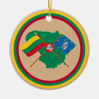 Lithuania and Alytus County Flags, Arms, Map Ceramic Ornament